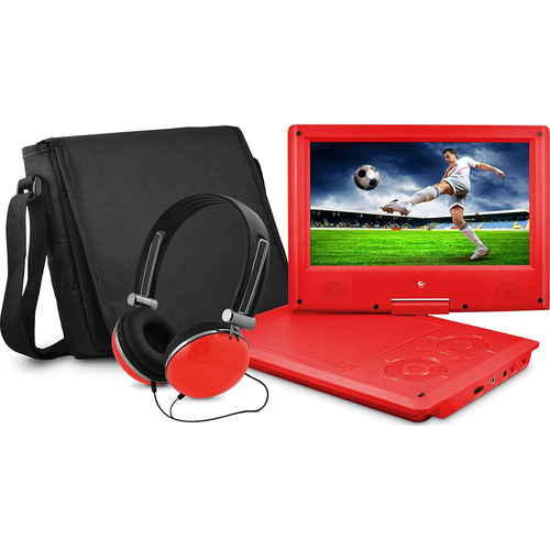 Ematic 9` DVD Red Player Bundle with Matching Headphones and Bag - EPD909RD