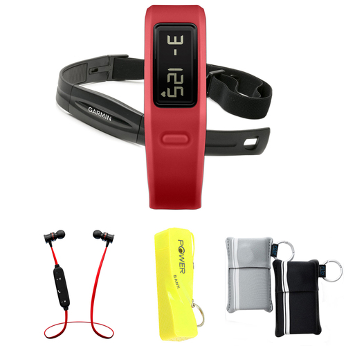Garmin Vivofit Fitness Band Bundle with Heart Rate Monitor (Red) w/ Power Bank Bundle