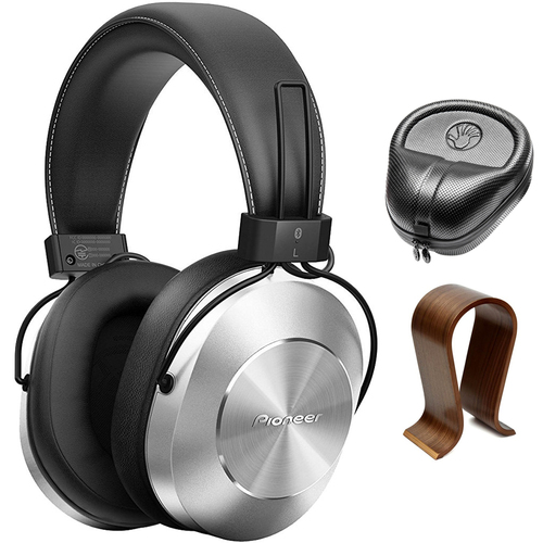 Pioneer Stereo Wireless Bluetooth Over-Ear Headphones Silver w/Wood Stand Bundle