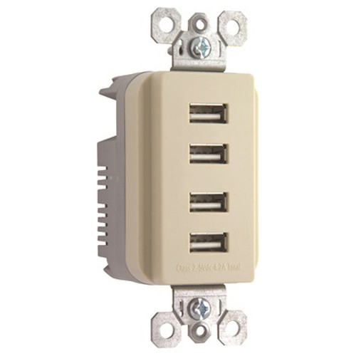 Legrand PS Quad USB Charger Ivory