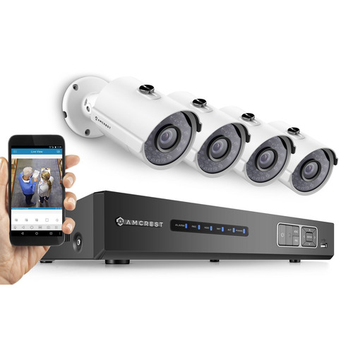 Amcrest ProHD 720P 4CH Video Security System w/ Night Vision Cameras, HDD - White