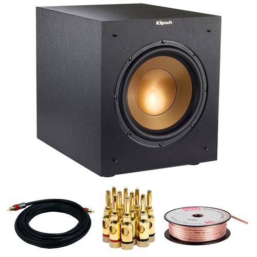 Klipsch R-10SWi Powerful 10` 300w Wireless Subwoofer w/ Accessories Bundle