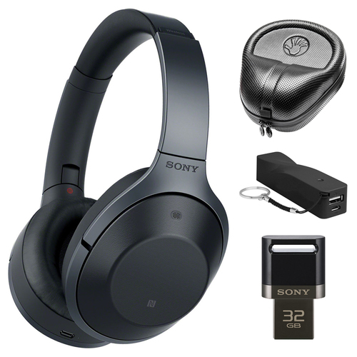 Sony Hi-Res Bluetooth Wireless Noise Cancelling Headphones w/ Accessories Bundle