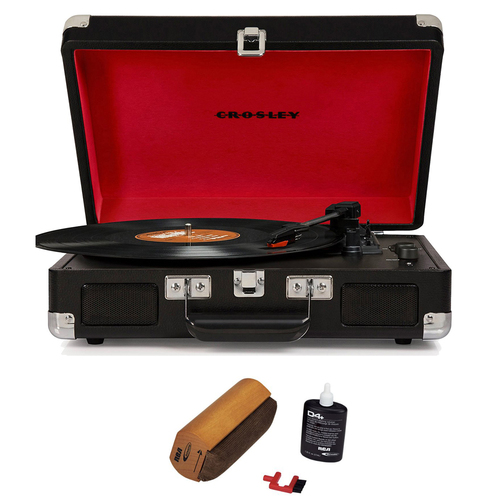 Crosley Portable 3-Speed Turntable with Bluetooth Black w/ Cleaning Fluid System
