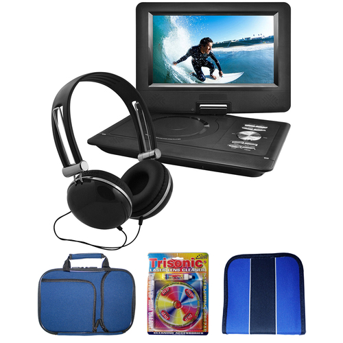 Ematic 10` Portable Swivel Screen DVD Player w/ Headphones + Accessories Bundle