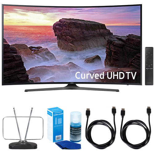 Samsung Curved 55` 4K UHD Smart LED TV (2017 Model) w/ TV Cut The Cord Bundle