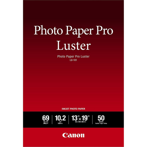 Canon Photo Paper Pro Luster LU-101 13`x19` -50 Sheets- Free w/ Select Canon Printers