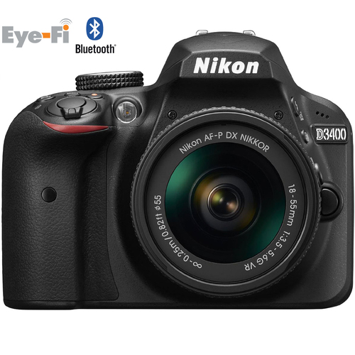 Nikon D3400 24.2MP DSLR Camera + 18-55mm VR Lens Kit (Black) - Certified Refurbished