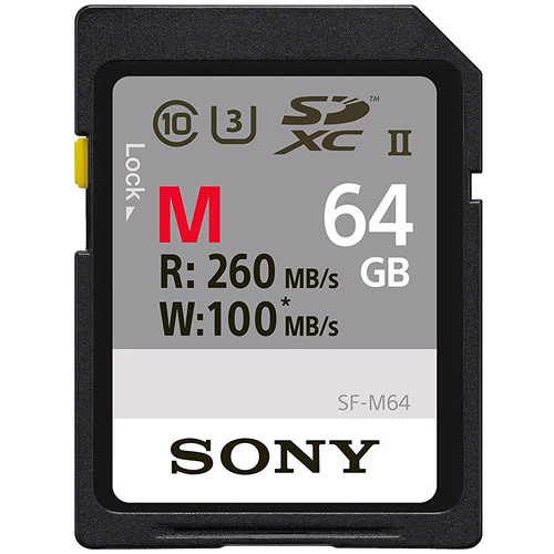 Sony Memory Card 64GB, UHS-II SD, CL10, U3, Max R260MB/s, W100MB/s (SF-M64/T)