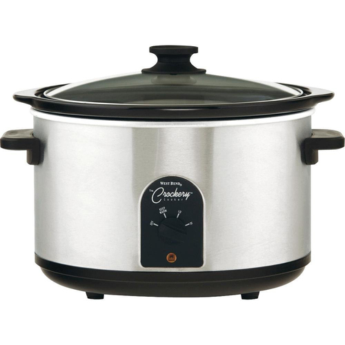 West Bend 85156 6-Quart Round Crockery Cooker, Stainless Steel/Black - OPEN BOX