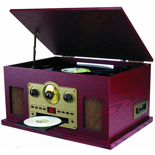 Sylvania SRCD838 5-in-1 Nostalgic Turntable with CD/Cassette/Radio & Aux-In - OPEN BOX