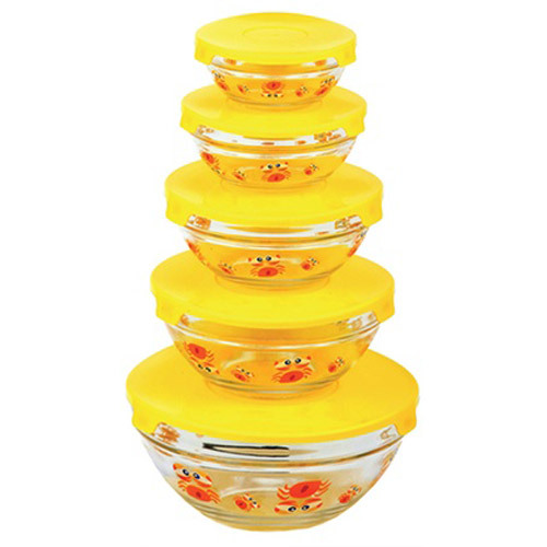 Diamond Home 5 Glass bowl set with Lids Yellow SC10120