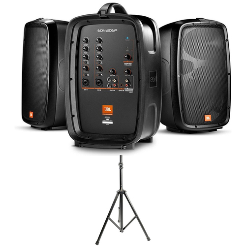 JBL 160W Compact All-in-one PA w/ 6ch Mixer, Dual 2-way Speakers w/ Stand Bundle