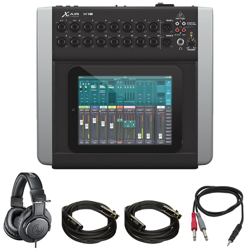Behringer X AIR Compact 18ch 12-Bus Digital Mixer for Tablets + Pro DJ Bundle