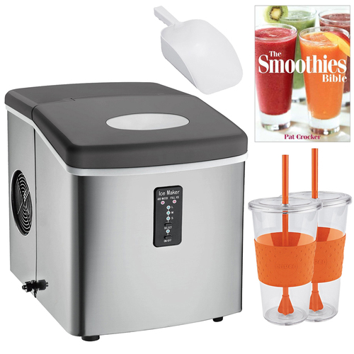 Igloo ICE103 Compact Ice Maker (Stainless Steel) Smoothie Bible Bundle