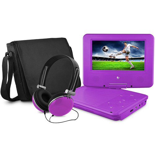Ematic 7` Swivel Portable DVD Player with Headphones and Bag in Purple - EPD707PR
