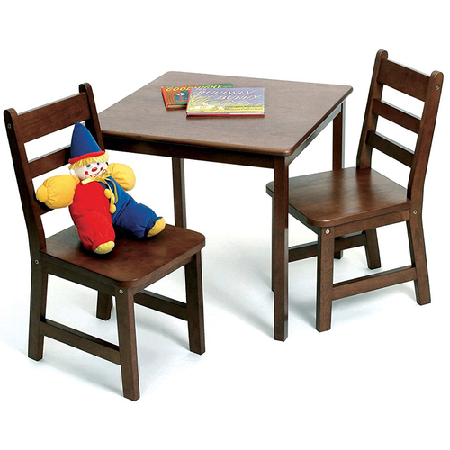 Lipper Child's Table Chair Set Walnut