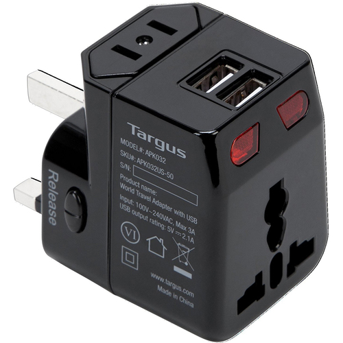 Targus World Travel Power Adapter with Dual USB Charging Ports - APK032US