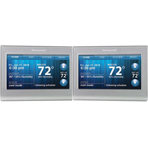 Honeywell Wi-Fi 9000 Touchscreen Thermostat 2-Pack - Silver