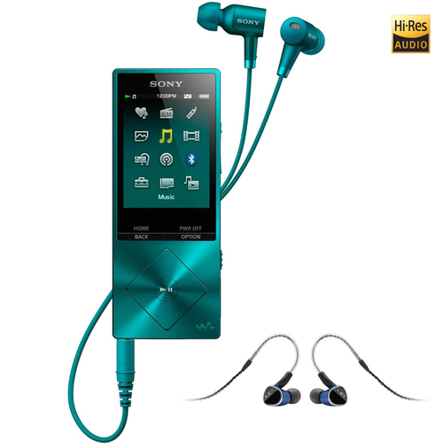 Sony 32GB Hi-Res Walkman Digital Music Player Blue with Universal Fit Earphones