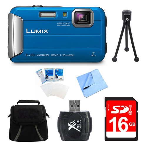 Panasonic LUMIX DMC-TS30 Active Tough Blue Digital Camera 16GB Bundle