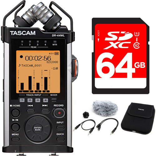 tascam portable recorder with xlr and wi fi dr 44wl accessory pack bundle. Black Bedroom Furniture Sets. Home Design Ideas