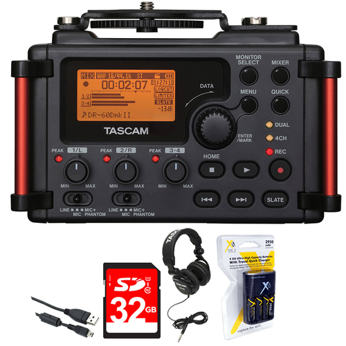 Tascam DR-60DMKII Portable Recorder for DSLR + 32 GB Card + Headphone+ Batteries