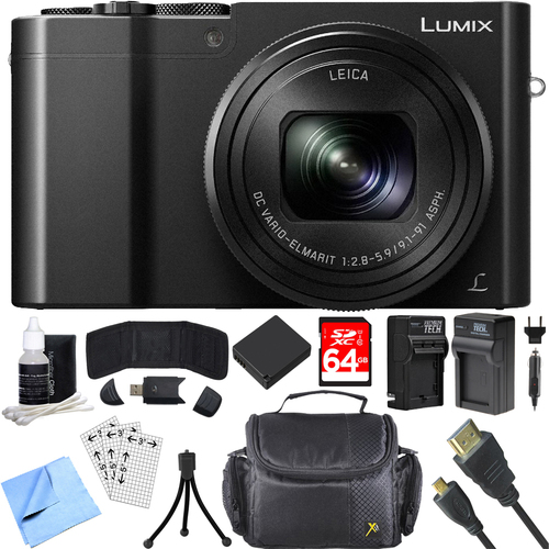 Panasonic ZS100 LUMIX 4K 20 MP Digital Camera w/ Wi-Fi Black (DMC-ZS100K) 64GB Card Bundle