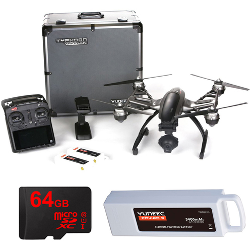 Yuneec Typhoon Q500 4K Quadcopter Drone UHD Kit with 2 Batteries, Case, 64GB Card