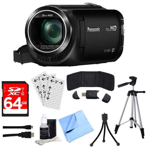 Panasonic HC-W580K Full HD Camcorder w/ Built-in Wi-fi, Multi Scene Twin Camera + 64GB Kit
