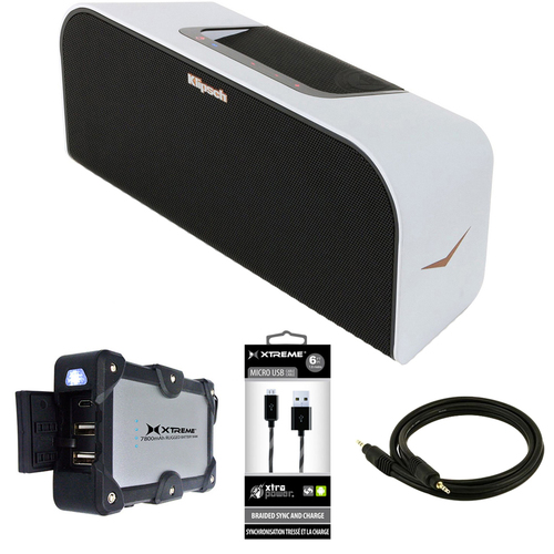 Klipsch Music Center KMC 3 Portable Speaker System White w/ Power Bank Bundle