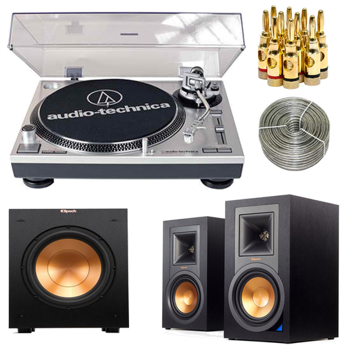 Audio-Technica ATLP120USB Professional Stereo Turntable w/ Klipsch Speaker Bundle