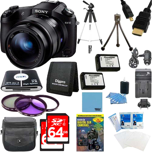 Sony Cyber-shot DSC-RX10 Digital Camera and 2 64 GB SDXC Cards and 2 Batteries Bundle