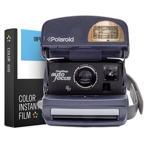 Polaroid 600 Round Camera - Blue w/ Instant Lab Color Film Bundle