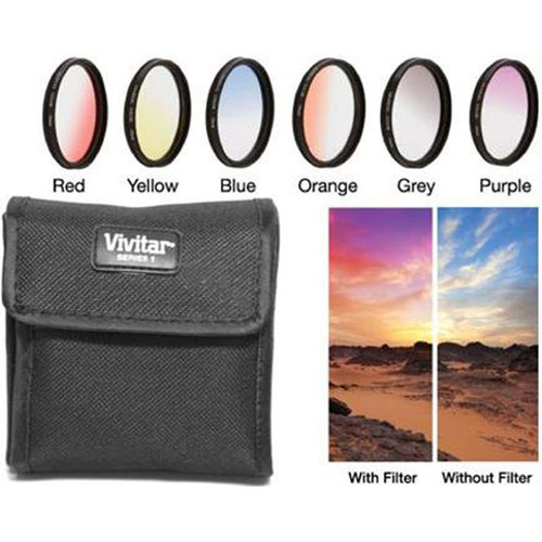40.5mm Graduated Color Multicoated 6-Piece Filter Set with Fold-Up Filter Pouch