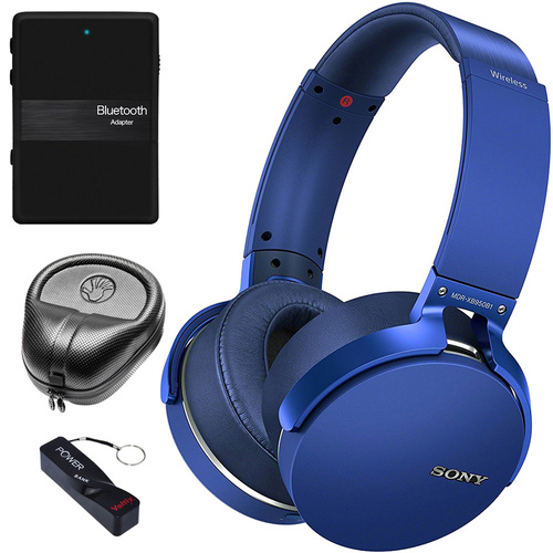 Sony 2017 XB950B1 Extra Bass Wireless Headphones, Blue - Audio Accessory Kit