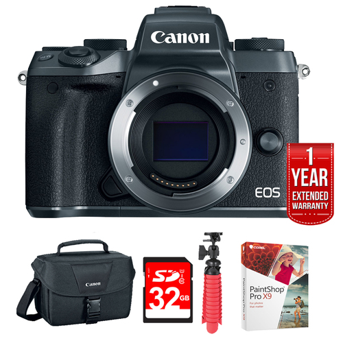 Canon EOS M5 Mirrorless Digital Camera - Black (Body Only) + 32GB Deluxe Bundle