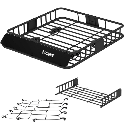 Curt Roof Rack 11 Square Foot Cargo Carrier +Carrier Extension & Cargo Net CURT 18115
