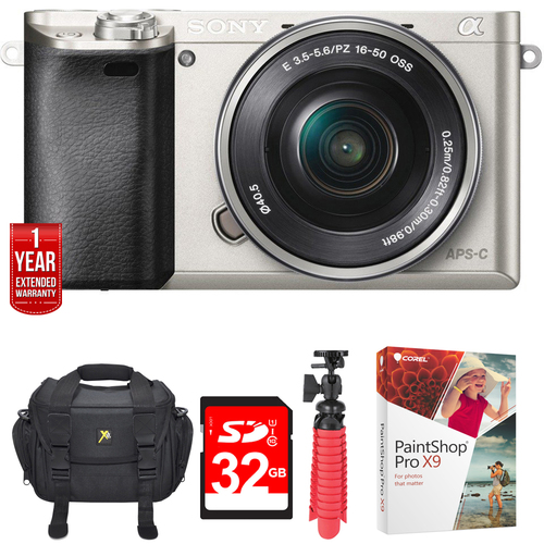 Sony Alpha a6000 24.3MP Silver Interchangeable Lens Camera 16-50mm + 32GB Bundle