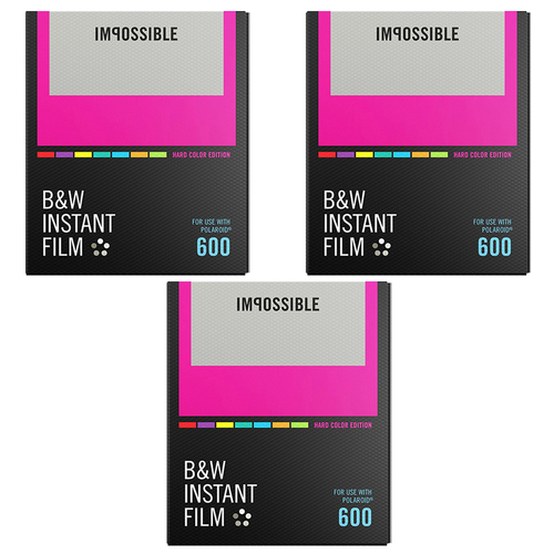 Impossible 3-Pack Black & White Instant Film Color Frame for Polaroid 600-Type Cameras