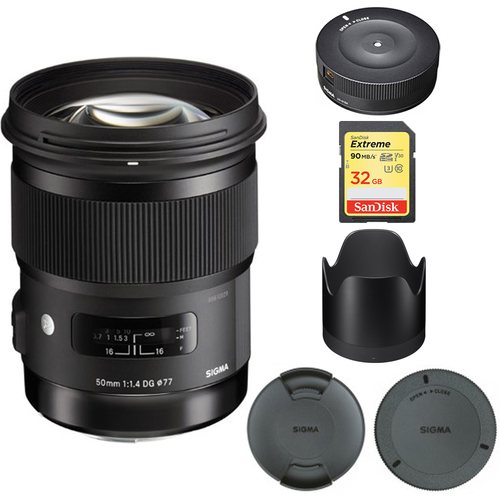 Sigma 50mm f/1.4 DG HSM A-Mount Lens for Sony A Cameras  - 311205 with USB Dock Bundle