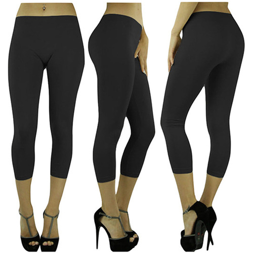 Yoga Capri Women's Seamless Capri Leggings (6-Pack Black) One Size