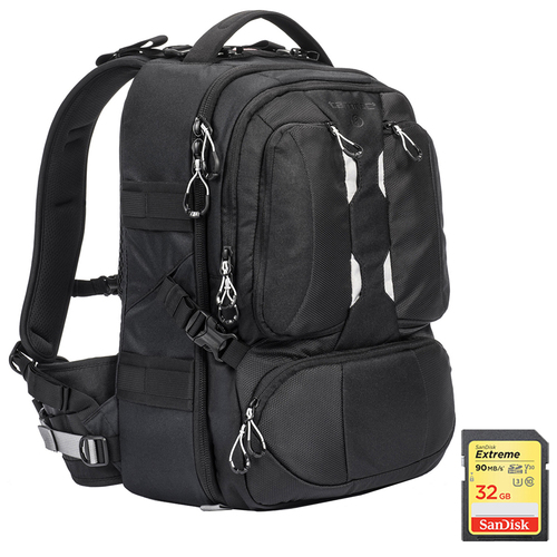 ANVIL Slim 15 Photo DSLR Camera and Laptop Backpack (Black) + 32GB Memory Card