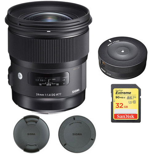 Sigma 24mm f/1.4 DG HSM Wide Angle Lens (Art) for Canon with USB Dock Bundle
