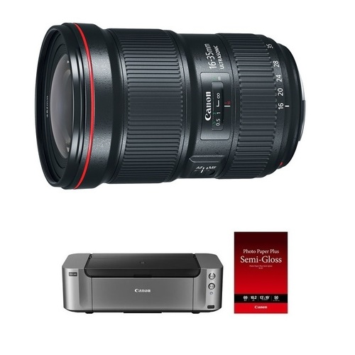 Canon EF 16-35mm f/2.8L III USM Lens + Pro 100 Printer and 50-Pack of Paper