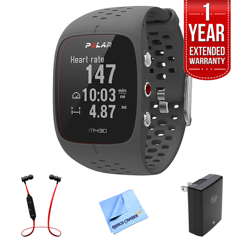Polar M430 GPS Running Watch, Grey (90064401) w/ Extended Warranty Bundle