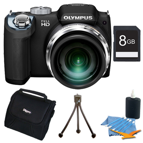 Olympus SP-720UZ 14MP 26x Opt Zoom 3-Inch LCD Digital Camera (Black) Plus 8GB Memory Kit