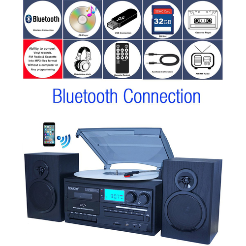 Boytone BT-28SPB, Bluetooth Classic Style Record Player Turntable w/ CD Player & More