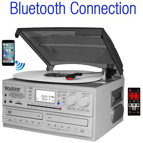 Boytone BT-29W, Bluetooth Dual CD Player and Recorder CD2 to CD1, AM/FM Radio&Turntable