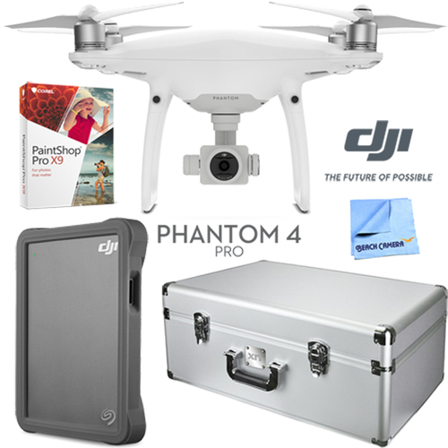 DJI Phantom 4 Pro Quadcopter Drone + Case; DJI 2TB Fly Drive; Paintshop Pro 9 Bundle